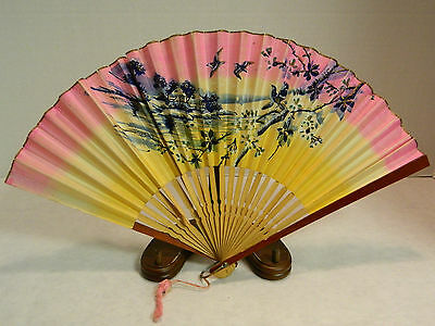 "Vintage Bamboo & Hand Painted Paper Hand Fan 16"" x 9"" Very Good Condition Japan"