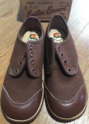 Vintage Buster Brown Child Boys Shoes. Deadstock 1940s Brown Oxford 10.5
