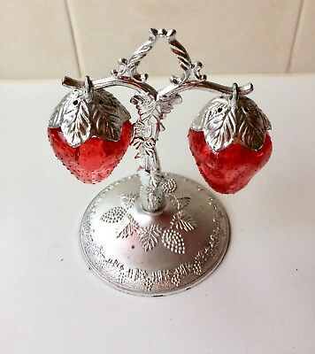 Vintage Hanging Strawberry Salt And Pepper Shakers - Silver Tree Stand - 1950's