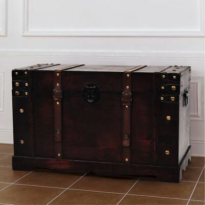 Antique Wooden Treasure Storage Trunk Vintage Chest Brown Coffee Table Decor NEW