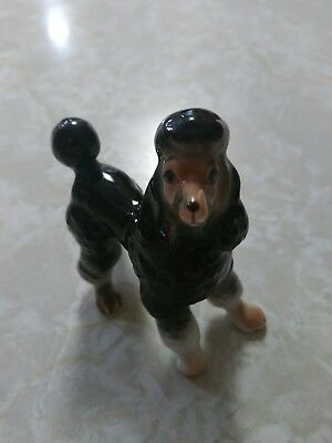 """Vintage Black Ceramic Poodle Figurine White Feet And Brown Face Approximately 3"""""""