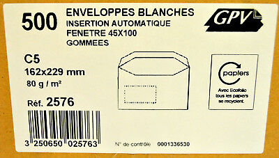 Cardboard 500 x C5 162 x 229 2.8oz Envelopes White to window Gummed up GPV Ref