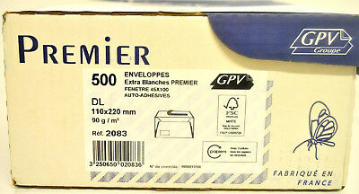500 x DL 110 x 8 21/32in 3.17oz Envelopes White Auto-sticky at Screens GPV 2083