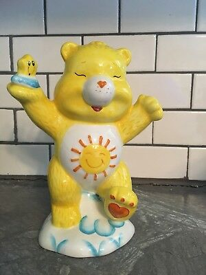 "Vintage Care Bears Funshine Ceramic Coin Bank Figurine 7"" Tall"