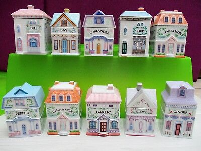 10 pots à épices Brooks & Bentley maisons porcelaines miniatures FRANKLIN MINT