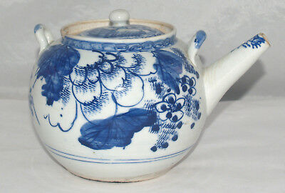Vintage Chinese Blue And White Glazed Porcelain Teapot Hand Painted Asian