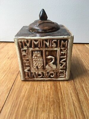 Vintage Henry Mercer Moravian Tile Works Pottery Inkwell - Swan And Tower