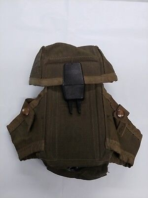Vietnam Era USGI M16 Small Arms Ammo Olive Drab Magazine Pouch with Alice Clips