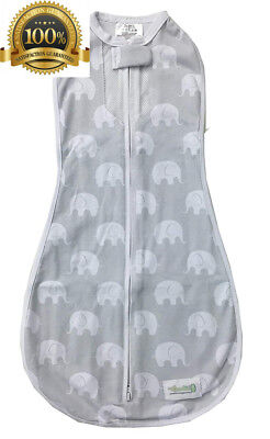 Woombie Air Baby Cocoon Swaddle (3 to 6 Months, Grey, Misty Jungle)