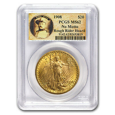 1908 $20 Saint-Gaudens Gold No Motto MS-62 PCGS (Rough Rider) - SKU#176084