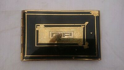 Antique case holder cigarettes lacquered black and gold encrypted GP
