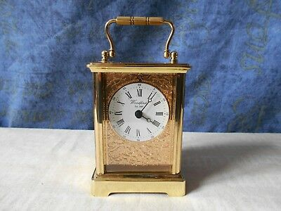 Lovely Woodford Carriage Clock Made Of Solid Brass Quartz Movement