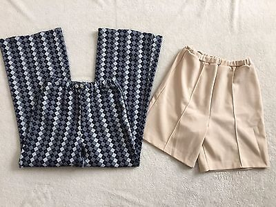 Vintage JCPenney Fashions Blue checkered Pants & Beige shorts, sz 12