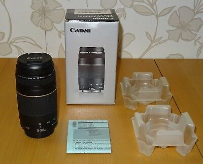 Canon EF 75-300mm F/4.0-5.6 III EF Lens with box and manuals