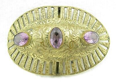 "Antique Victorian Amethyst Purple Glass Stone 3"" Sash Belt Buckle"