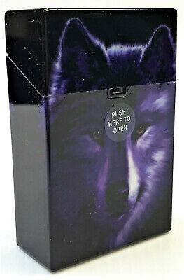 Eclipse Wolf Face Hard Plastic Crushproof Cigarette Case, Kings, 3116D17-2