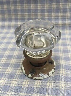 "Reclaimed Architectural Antique Door Knob 8 Points Clear Glass 2-1/8"" Back Plate"