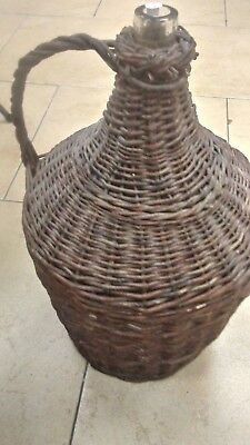 """Vintage Large Clear Glass Demijohn Wine Jug  Jar in Wicker Cover 22"""" Tall Rare"""