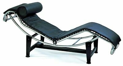 Le Corbusier Chaise Lounge Chair in black genuine top grain leather #1184