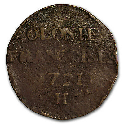 1721-H French Colonies 9 Deniers VG (Details) - SKU#170023