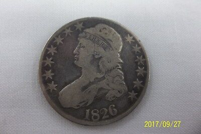 1826 Capped Bust Silver Half Dollar Lettered Edge You Grade 50C Coin  Free ship