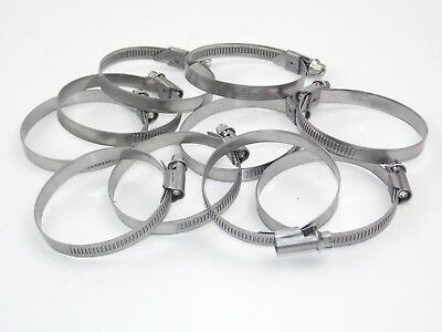 70mm - 90mm Stainless Steel Worm Drive Hose Clips 10 Off 9mm Wide