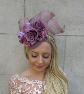 Dark Lilac Grape Purple Rose Flower Hat Fascinator Races Wedding 6323