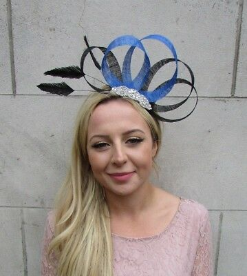 Black Royal Blue Silver Feather Fascinator Sinamay Wedding Races Hair Hat 6327