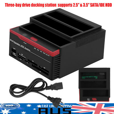 New USB 3.0 to Triple SATA Hard Drive 2.5''3.5'' IDE HDD Docking Station Reader