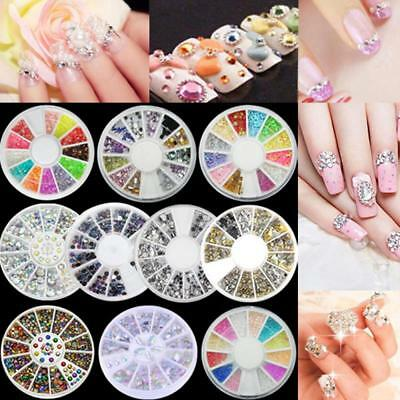 Women's Nail Art Rhinestone 3D Glitter Gems Decoration Crystals Pearls Beads UK