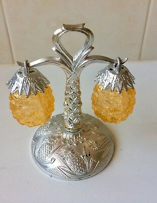 Vintage Pineapple Hanging Salt And Pepper Shakers - Silver Tree Stand - 1950's