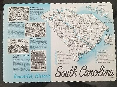 Vintage Paper Placemat State of South Carolina SC. Printed 1978 Collectible Rare