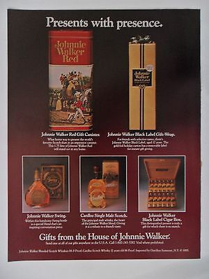 1986 Print Ad Johnnie Walker Black+Red Label Whiskey ~ Presents with Presence