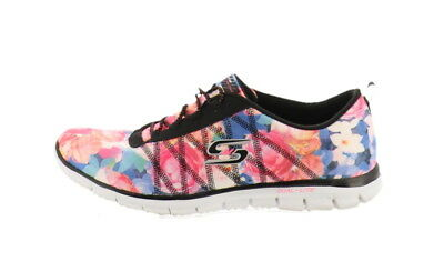 SKECHERS FLORAL STRETCH FIT Bungee Sneakers Glider Posies Black 11M NEW A277954