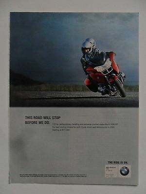 2006 Print Ad BMW R 1200 RT Motorcycle ~ This Road Will Stop Before We Do