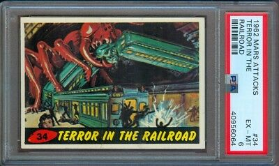 1962 Mars Attacks #34 Terror In The Railroad Psa 6
