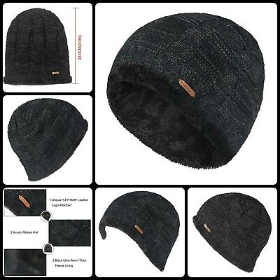 Ribbed Knit Beanie Warm Thick Fleece Lined Hat Mens Winter Skull Cap Hat Black