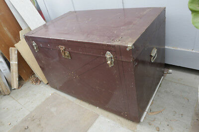 Large vintage wooden and tin travel Trunk