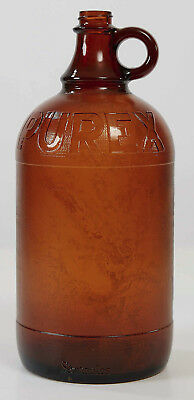 PUREX Amber Brown Textured Glass Bottle Jug Half Gallon 64 oz Antique Vintage
