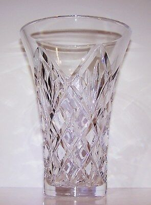 """Stunning Signed Waterford Crystal 8"""" Beautifully Cut Flared Vase"""