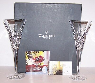 "Stunning Pair Of Waterford Crystal Lismore 9 1/4"" Toasting Flutes In Box 107608"