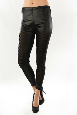 Sexy Black Wet look Mesh cut out inserts stretchy skinny fitted Leggings Vegan