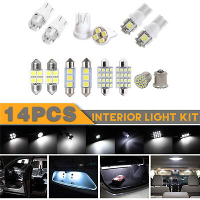 14Pcs White LED Interior Bulbs Kit For T10 36mm Map Dome License Plate  Lights
