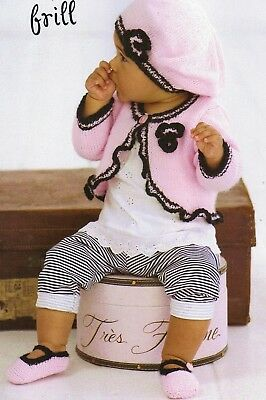 Baby to 7 year old Knitting Pattern copy Frilled Bolero Cardigan and Hat