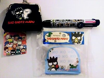 "Sanrio ""Badtz Maru"" Lot Of 3 items*Coin Purse,Pen,Sticky Notepad* NEW"