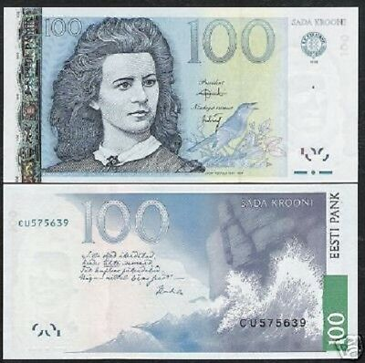Estonia 100 Krooni P88 2007 Euro Cuckoo Bird Wave Rock Unc Currency Money Note