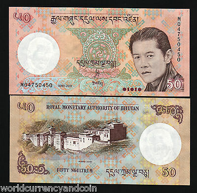 Bhutan 50 Ngultrum P31 2008 King Dzong Palace Unc Currency Money Bill Bank Note