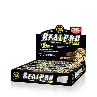 24x50g Riegel,  35,50 EUR/1Kg All Stars Real Pro Low Carb Bar (24 x 50g) Stracc