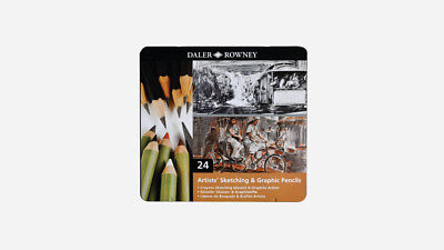 Daler Rowney Artists Sketching and Graphic Pencils Set of 24 Christmas Gift Tin