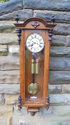 Antique Walnut Double Weight Vienna Wall Clock